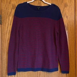 Talbots medium navy and red striped sweater